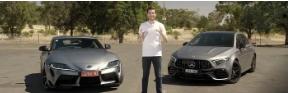汽车资讯:2021年丰田Supra Drag竞赛Mercedes-AMG A 45 S他们真该死